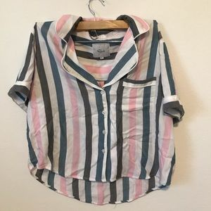 [Rails] Pajama Short Top in Melon Stripe Size S